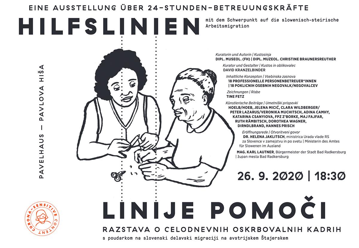 HILFSLINIEN | LINIJE POMOČI - Flyer –Zeichnung | Risbe: Tine Fetz